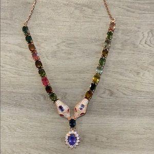 Snake heads gemstone tanzanite necklace